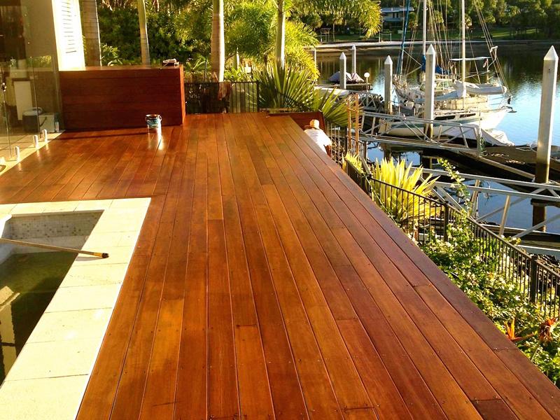 Timber decking canal side Sunshine Coast
